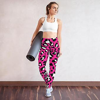 Vaaleanpunainen Leopard Print Fitness -setti