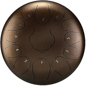 Copper 12 inch 13-tone steel tongue drum mini hand pan drums with drumsticks cai1059