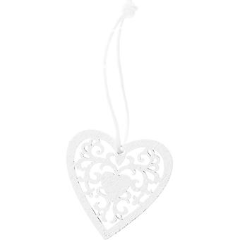 3.5cm White Filigree Hanging Heart for Wedding Crafts and Decoration