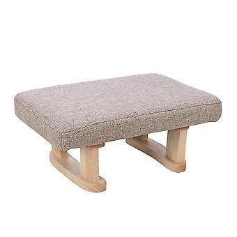 Tissu de lin Rembourré Tabouret avec jambe en bois