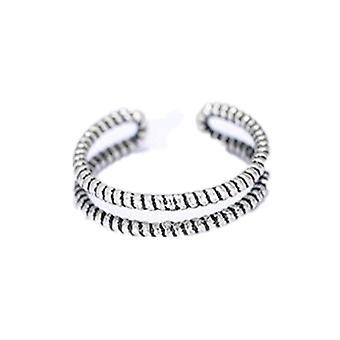 2PCS ציפוי כסף וינטג תכשיטים פשוטים מתכווננים לנשים זוג חתונה אופנה יצירתית