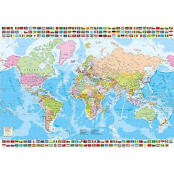 Educa Map of the World with Flags Jigsaw Puzzle (1500 Pieces)