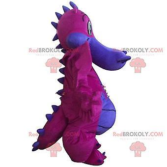 Maskottchen REDBROKOLY.COM rosa und lila Drachen, Dinosaurier-Verkleidung