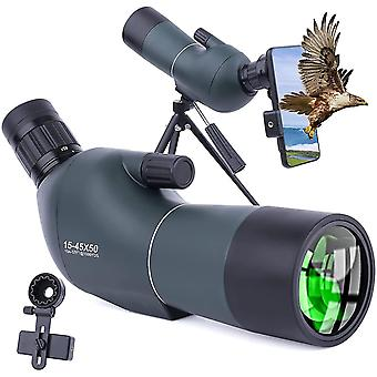 15-45x50 spotting scope with tripod, carrying case and smartphone adapter, HD waterproof monocular