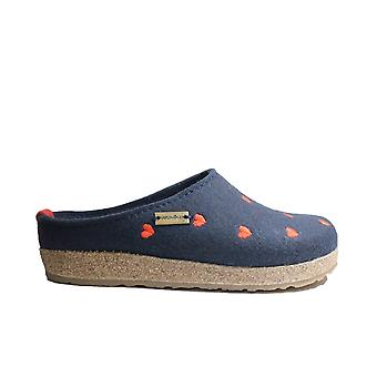Haflinger Grizzly Cuoricino Mittelblau With Heart Pattern Womens Slip On Mule Slippers