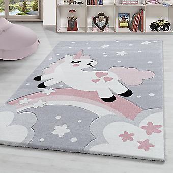 Alfombra para niños Unicornio Arco iris Alfombra de la habitación de los niños Pila corta Rosa gris Blanco