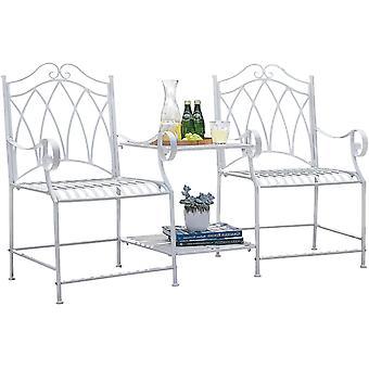 SoBuy Banco de muebles de jardín para 2 personas con mesa integrada de 2 plazas