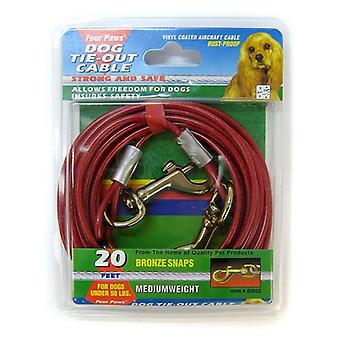 """Four Paws Dog Tie Out Cable - Medium Weight - Red - 20"""" Long Cable"""