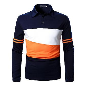 Mens Color Matching Long Sleeve Polo Shirt Tops Blouse Pullover Tunic Sweatshirt
