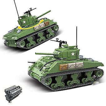 Military Series World War II U.S. Army Main Tank Sherman M4A1  Gifts Blocks