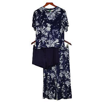 Honeydew Womne's Palazzo Tie-Dye Pajama Set 3-piece Blue