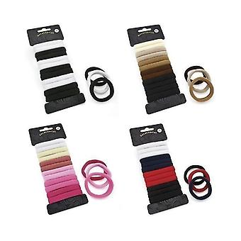 Set of 12 Soft Endless Snag Free Black & White Ponios Hair Elastics Bobbles Bands Donuts