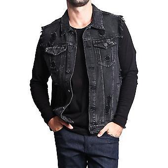 Homemiyn Heren Fit Retro Gescheurd Denim Vest Mouwloos Jean Vest En Jas(2XL)(Zwart)