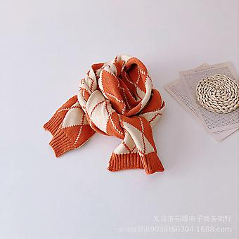 Color Diamond Plaid Children's Winter Tide Knitting Soft Wool Necklaces For Boys And Girls Babies