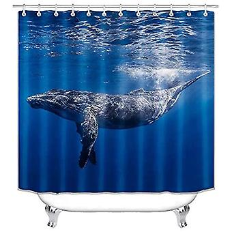 Bathroom Shower Curtain Set Big Shark Pattern