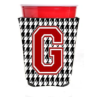 Monogram - Houndstooth  Initial  G Red Solo Cup Beverage Insulator Hugger