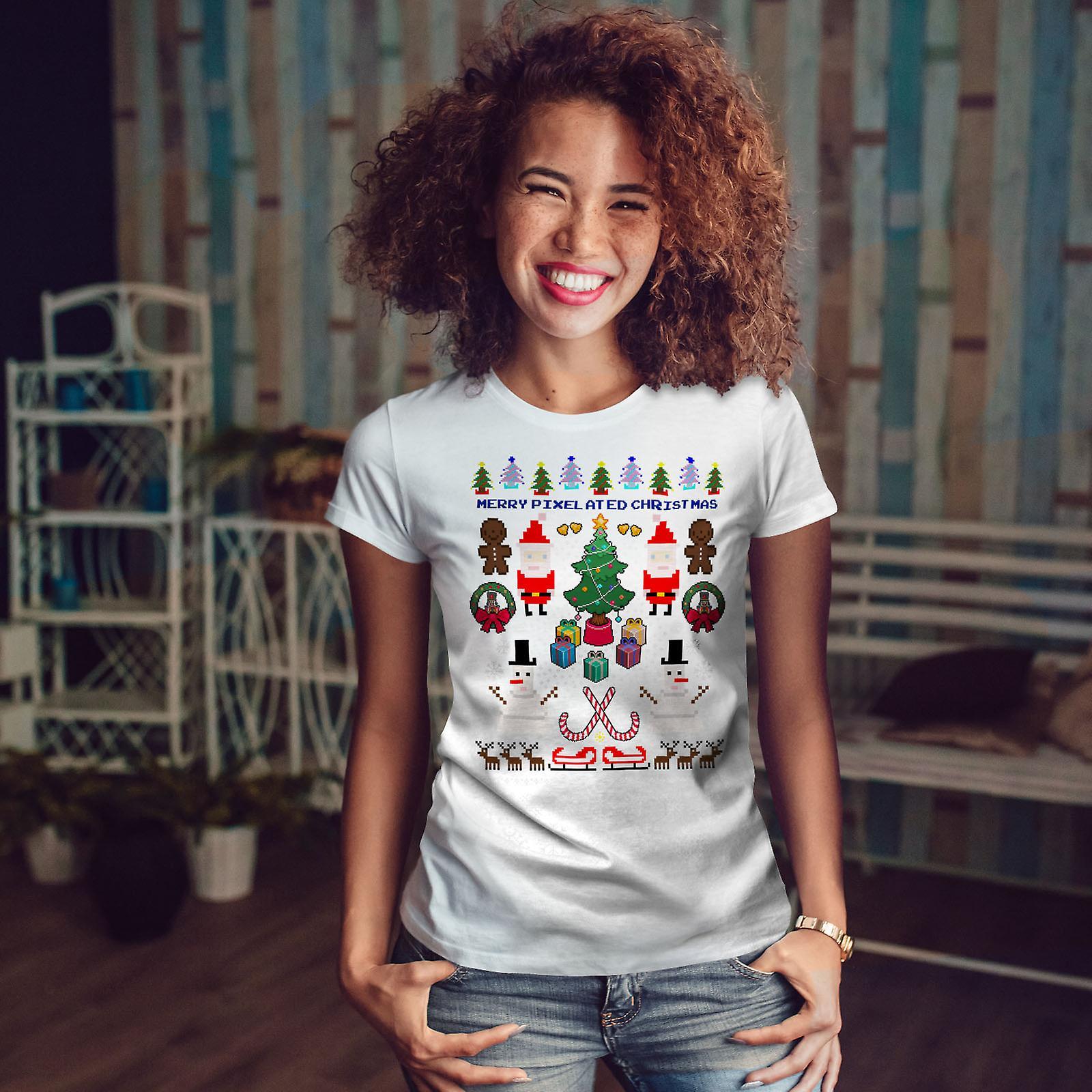 Noël bonhomme de neige de Santa WhiteT-shirt de femme | Wellcoda