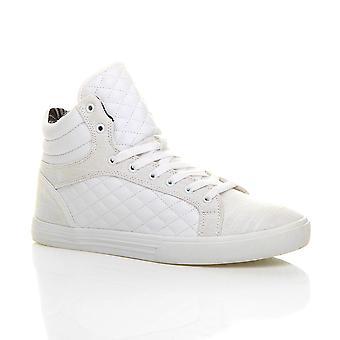 Ajvani Mens flache Schnürschuh gesteppte Casual Hallo hohe obere Knöchel Stiefel Trainer Sneaker