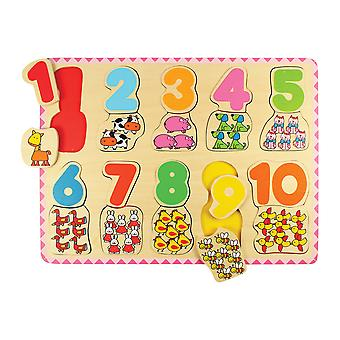 Bigjigs Toys Wooden Number & Colour Matching Jigsaw Puzzle Learn Count