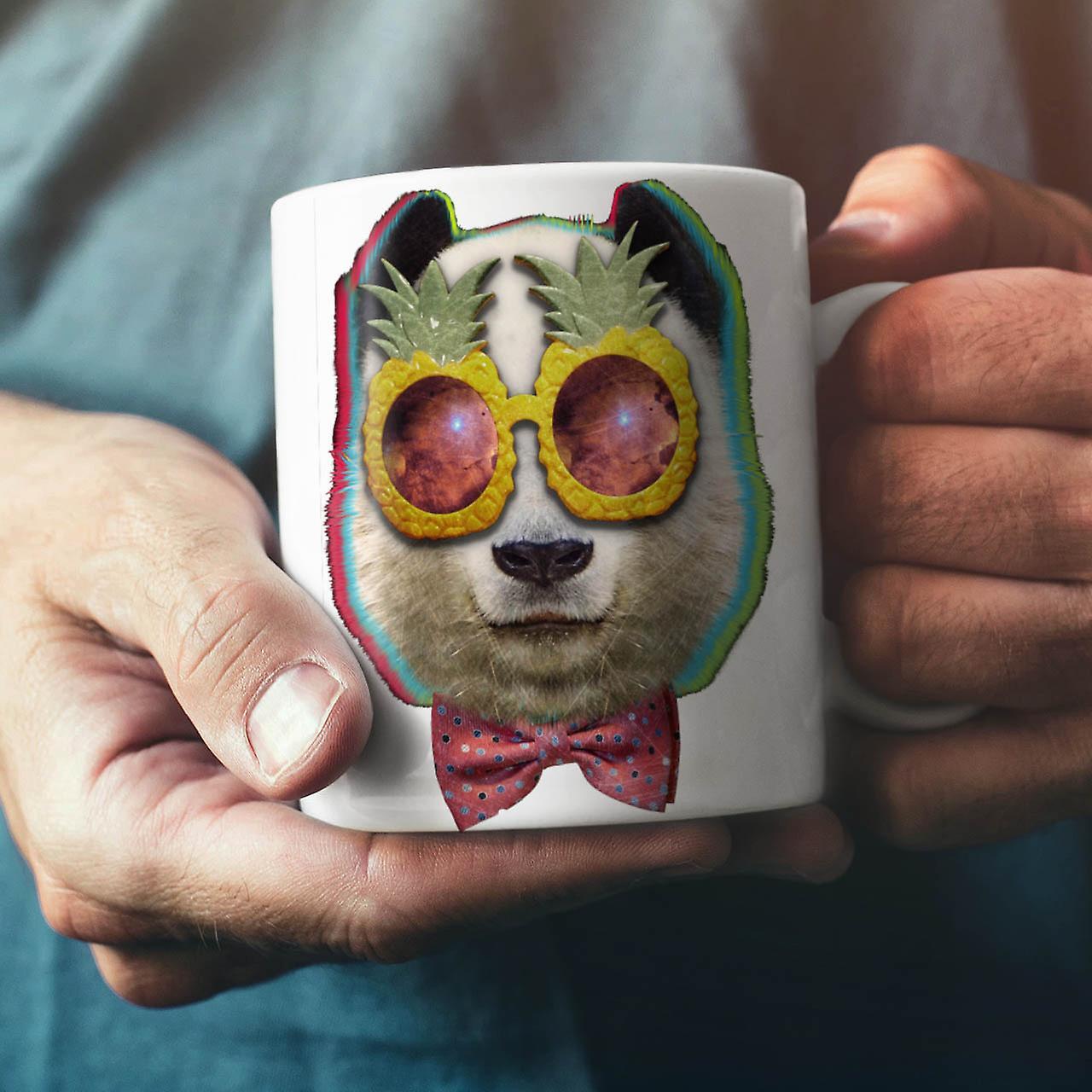 Panda Space Glasses NEW White Tea Coffee Ceramic Mug 11 oz | Wellcoda