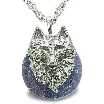 Amulet Wolf hoofd moed bescherming bevoegdheden gelukkige Donut blauwe gouden stenen hanger ketting