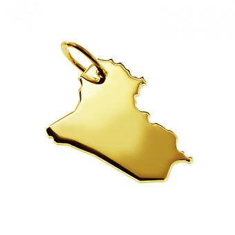 Trailer map Iraq pendant in solid 585 yellow gold