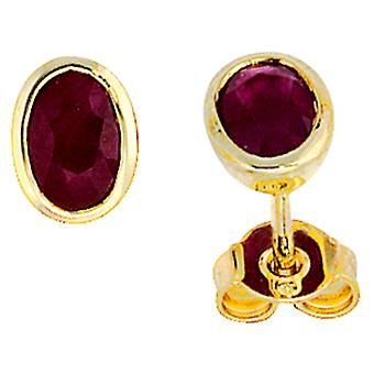 Rubis oreille clou boucles d'oreilles de 585 or jaune or 2 rubis rouge Boucles d'oreille or pierres précieuses