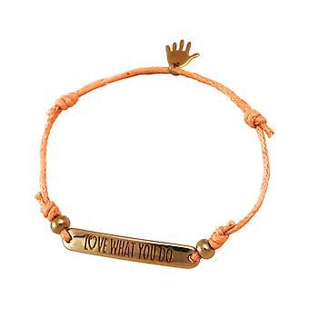 Женщины - браслет - гравировка - ЛЮБОВЬ ЧТО ВЫ ДЕЛАЕТЕ - розовое золото покрытием - яркий Коралл - Роза