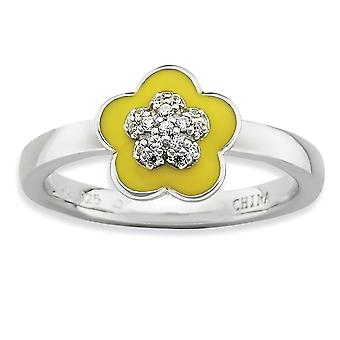925 Sterling Argent Moveable Rhodium plaqué Empilable Expressions Poli enameled jaune et Cubic Zirconia Ring Jewe