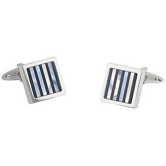 David Van Hagen Square Onyx og perlemor stripete mansjettknapper - sølv/svart/grå