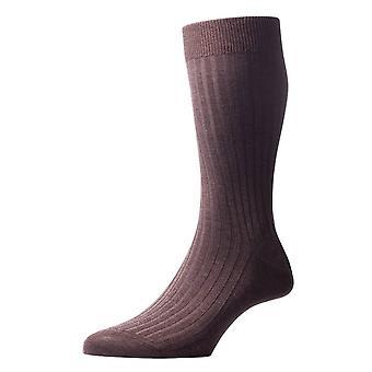 Pantherella Danvers Rib katoen sokken in Schotse draad - donker bruin Mix