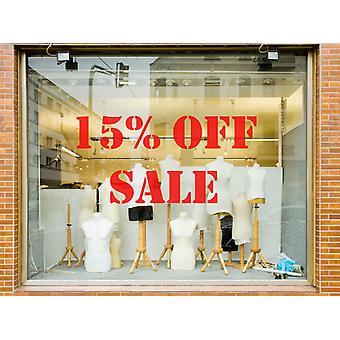 15% من متجر بيع الفينيل نافذة الجدار ملصقا