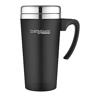 Thermos Black 420ml ThermoCafe Soft Touch Travel Mug