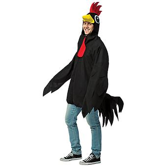Mens Black Rooster Animal Farm Funny Fancy Dress Costume