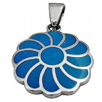 Sterling Silver Turquoise Flower Pendant Gorgeous Gift