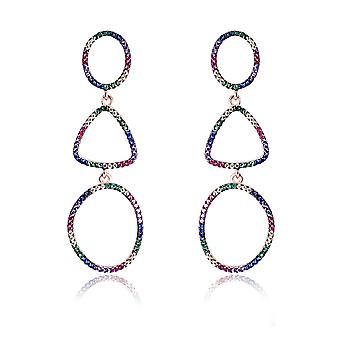 Orphelia Silver 925 Earring Rose ovalen en driehoek met veelkleurige stenen - ZO-7461