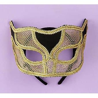 Masquerade Ven Mask Netted Gold
