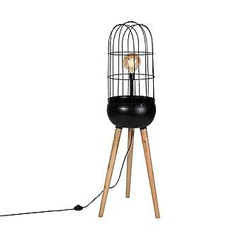 QAZQA Modern Floor Lampenholz mit Schwarz-Vögel