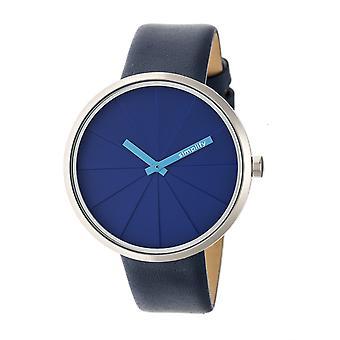 Vereinfachen Sie die 4000 Leder-Band Uhr - blau