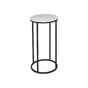 Gillmore White Marble And Black Metal Contemporary Circular Lamp Table