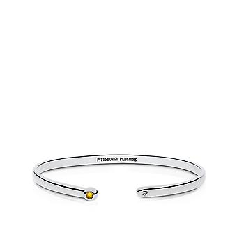 Pittsburgh Penguins Engraved Sterling Silver Yellow Sapphire Cuff Bracelet