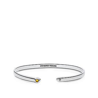 Pittsburgh Penguins graviert Sterling Silber gelb Saphir Manschette Armband