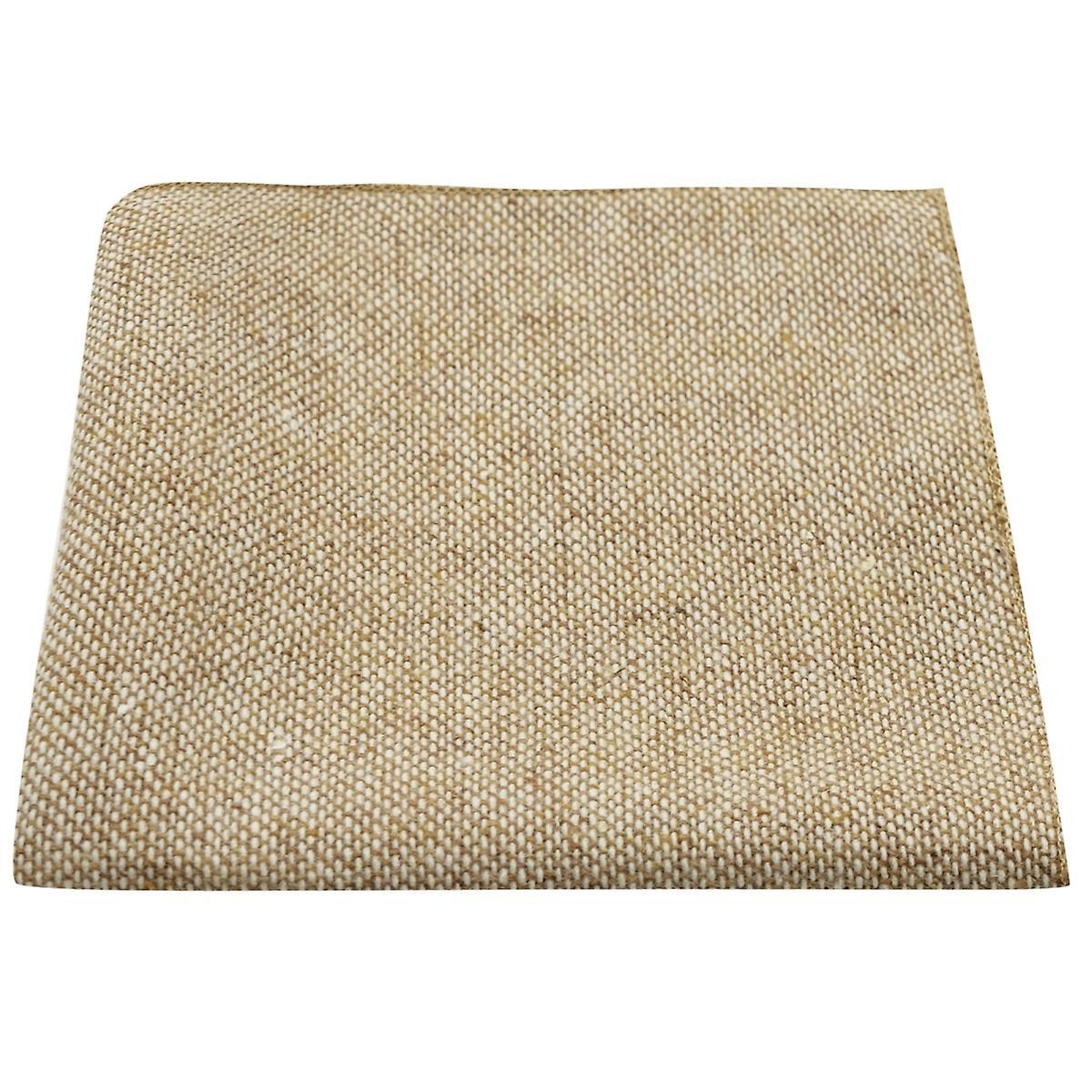 Highland Weave Stonewashed Light Brown Pocket Square, Handkerchief