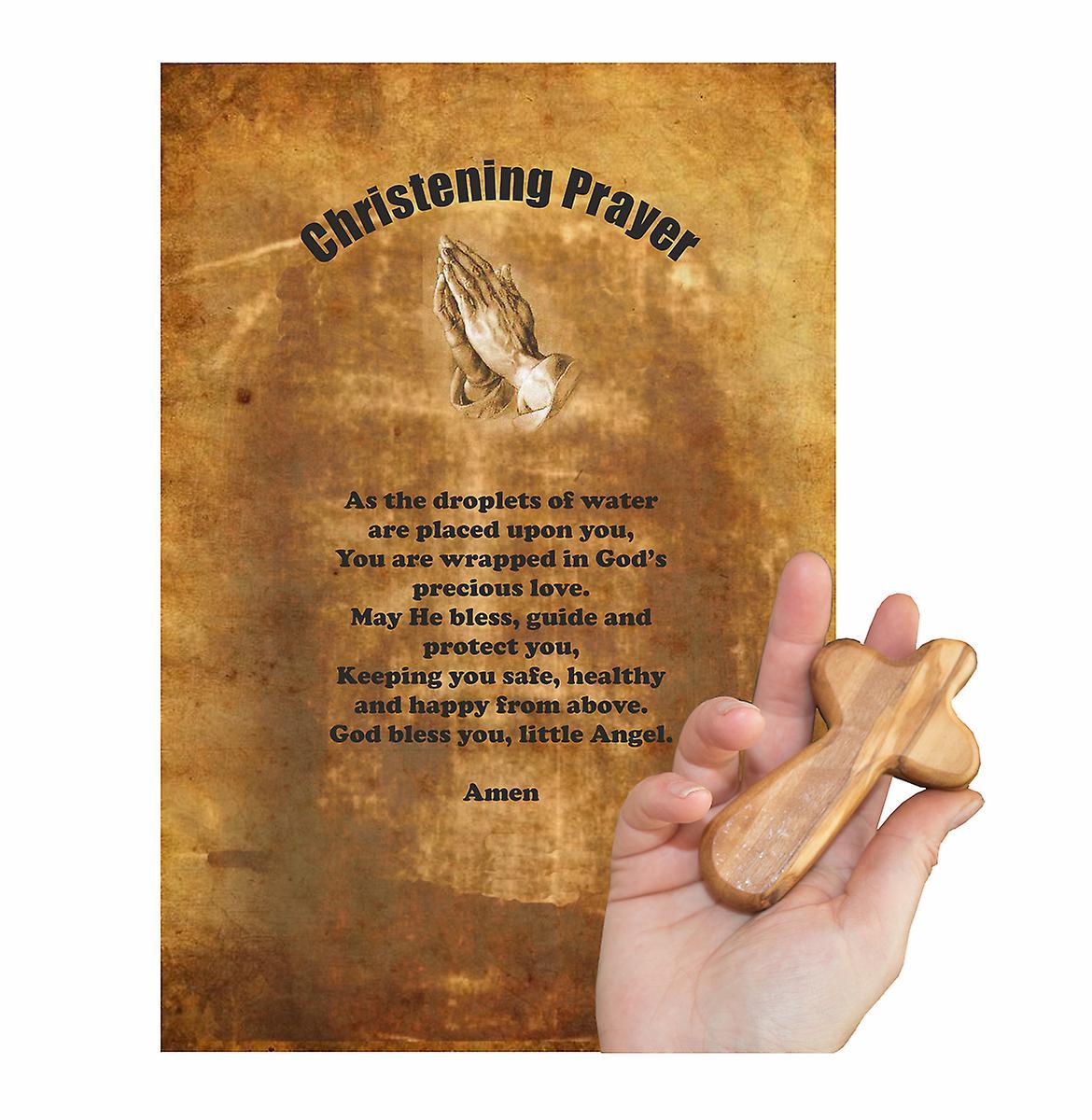 Christening Prayer Carved Olive Wood Comfort Cross Religious Keepsake Hand Made In Bethlehem