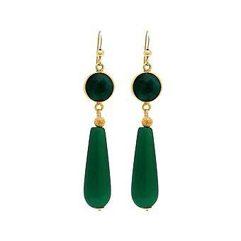 Boucles d'oreilles Gemshine gouttes de jade émeraude vert en 925 argent ou or plaqué