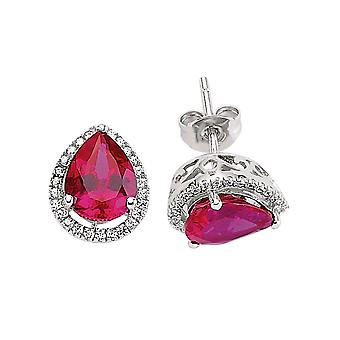 Jewelco London Rhodium Plated Silver Pink and White Pear and Round Cubic Zirconia Halo Tears of Joy Stud Earrings