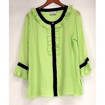 Linea by Louis Dell'Olio 3/4 Sleeve Ruffled Belted Green Top A188300