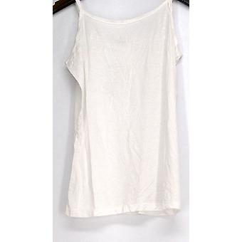 Agiato Top Extra Long Basic Camisole w/ Ajustable Straps White Womens