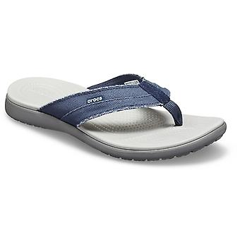 Crocs Mens Santa Cruz Canvas Flip Slip On Navy/Light Grey