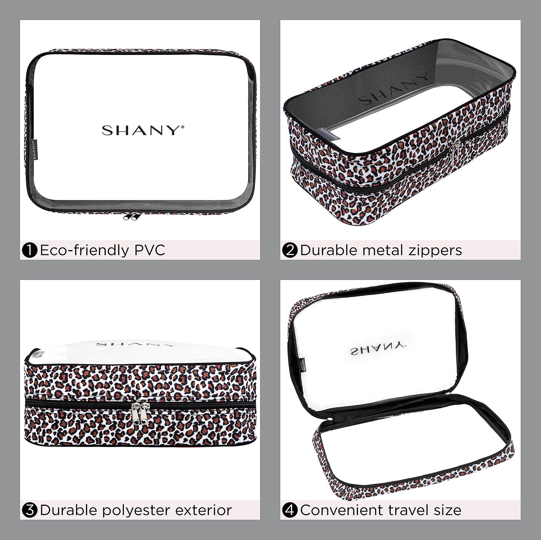 SHANY Clear Water-Resistant Luggage Organizer Set - Three Transparent PVC Makeup and Toiletry Storage with Zipper Closures and Black Exterior Lining - Set of 3